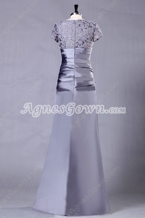 Straight Full Length Column Full Length Silver Mother Of The Bride Dress