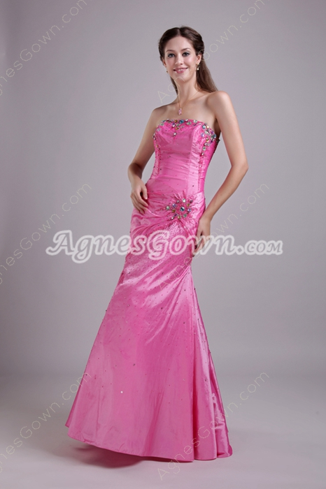 Strapless Neckline Full Length Hot Pink Taffeta Prom Dress 2016