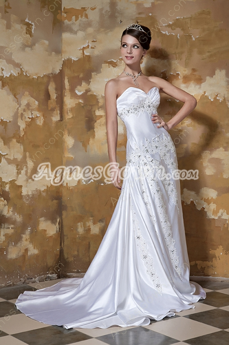 Great Handwork A-line Full Length Plus Size Satin Wedding Dress