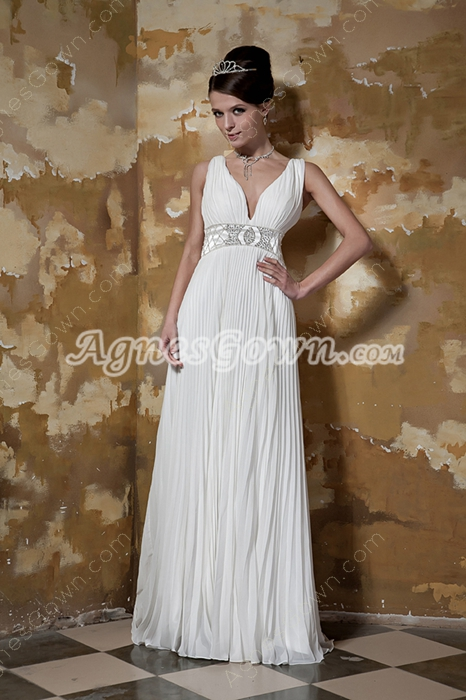 Plunge Neckline A-line Chiffon Summer Wedding Dress V-Back