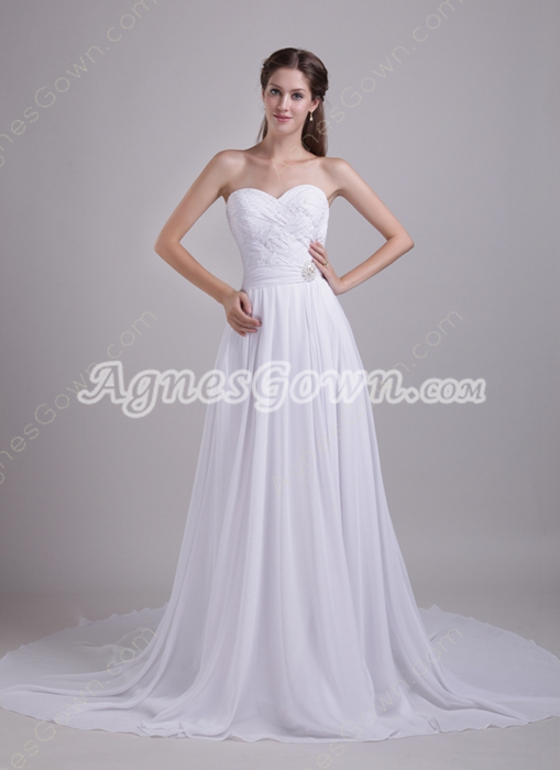 Sweetheart A-line Chiffon Wedding Dress For Plus Size Women