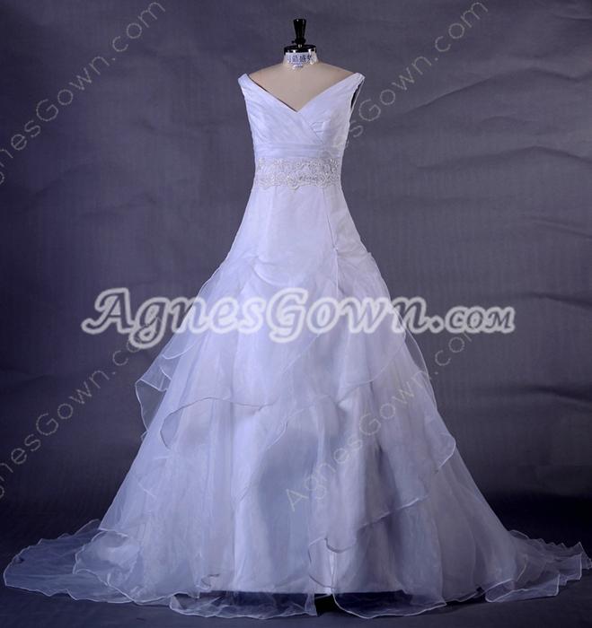Plunge Neckline Puffy Organza Wedding Dress With Lace