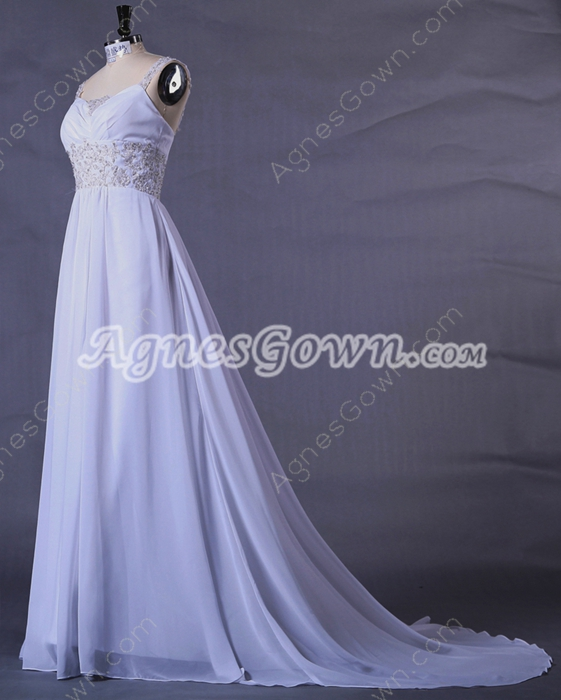 Straps A-line Full Length Chiffon Plus Size Wedding Gown