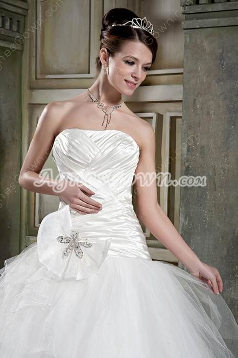 Affordable Strapless Ball Gown Tulle Wedding Dress Plus Size