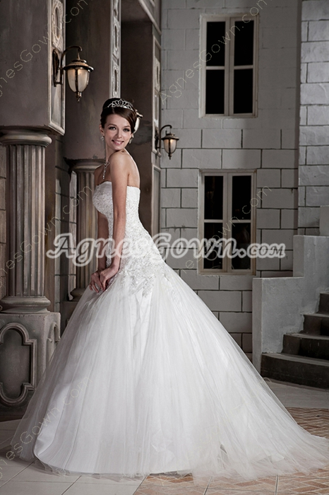 2016 Beaded Appliques Ball Gown Wedding Dress Corset Back