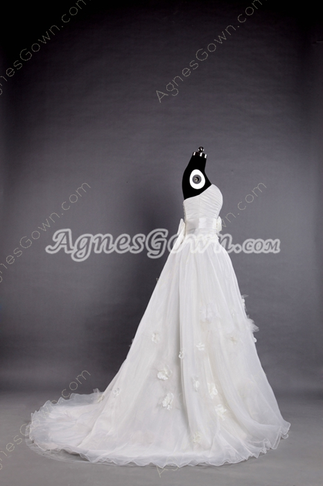 Dipped Neckline Organza Princess Wedding Dress