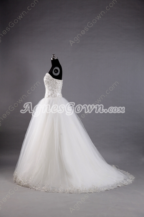 Embroidered Bodice Sweetheart Princess Wedding Dress