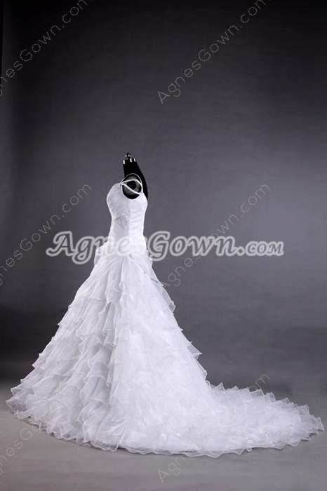 Straps White Organza Princess Wedding Dress With Ruffles