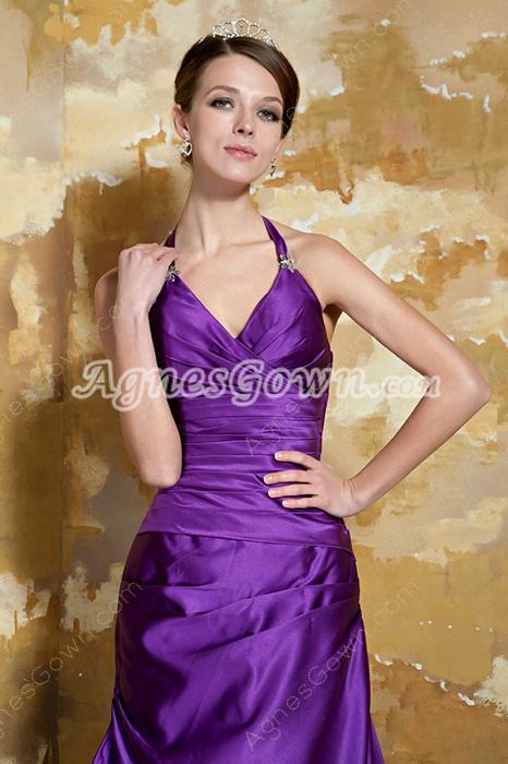Halter Column Full Length Regency Purple Prom Dress