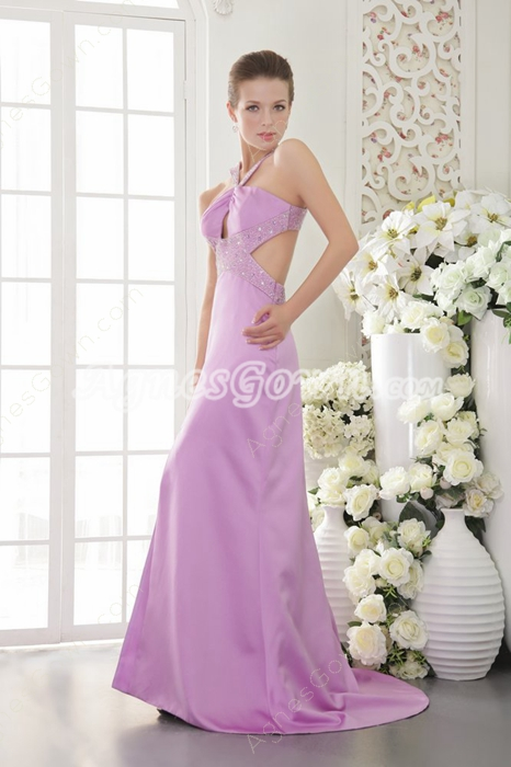 Crossed Straps Back Lilac Satin Evening Dress Cut Out