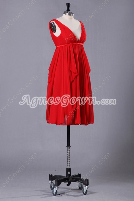 Plunge Neckline Empire Knee Length Red Maternity Prom Dress