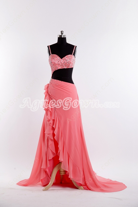 Spaghetti Straps Watermelon Chiffon Evening Gown Cut Out Bodice