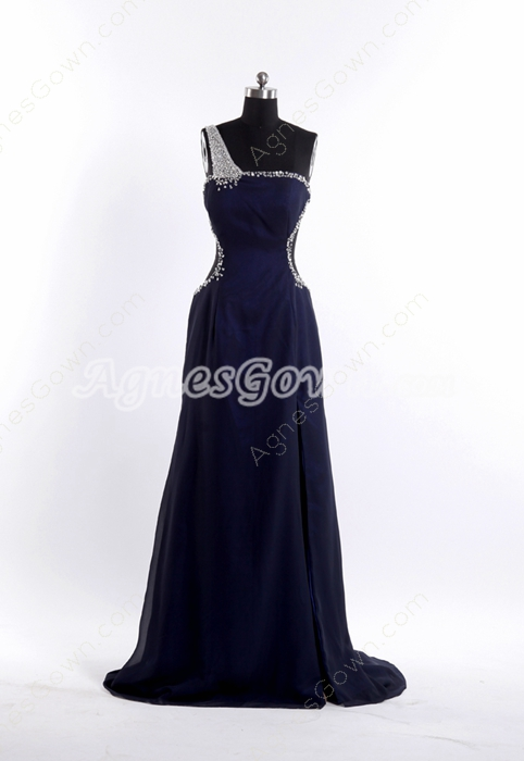 One Shoulder Navy Blue Chiffon Open Back Sexy Evening Dress