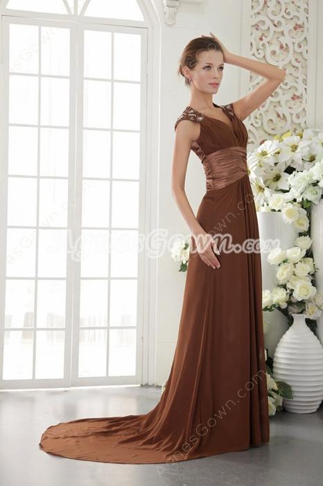 Cap Sleeves A-line Copper Chiffon Evening Dress Keyhole Back