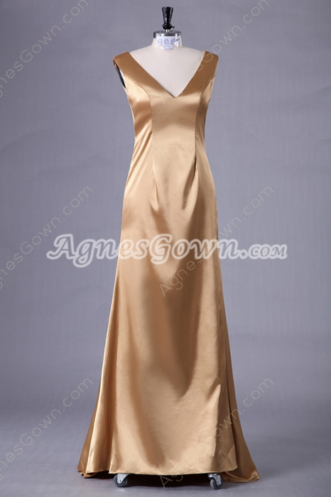 Deep V-Neckline Gold Satin Mother Of The Bride Dress
