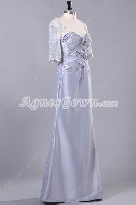 Column Floor Length Half Sleeve Silver Gray Mother Of The Bride Dress