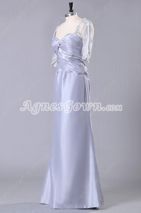 Column Floor Length Half Sleeve Silver Gray Mother Of The Bride Dress