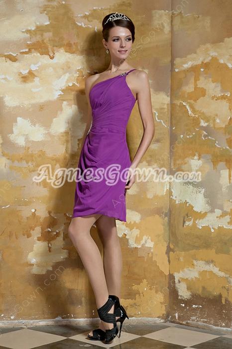 Sassy One Shoulder A-line Mini Length Regency Chiffon Prom Dress