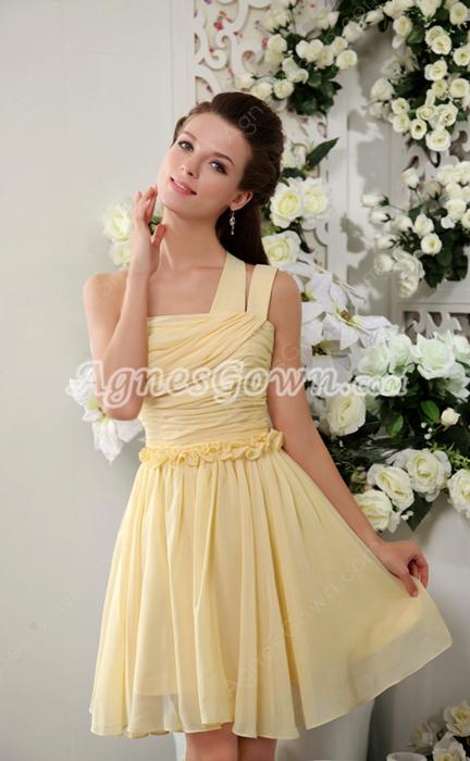 One Shoulder Daffodil Chiffon Short Length Bridesmaid Dress