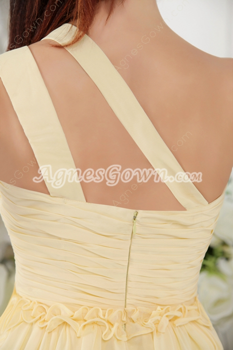 One Shoulder Daffodil Chiffon Short Length Bridesmaid Dress