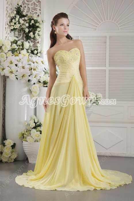 Charming Sweetheart A-line Yellow Chiffon Prom Dress Corset