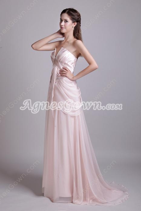 Cowl Neckline Pearl Pink Chiffon Prom Dress