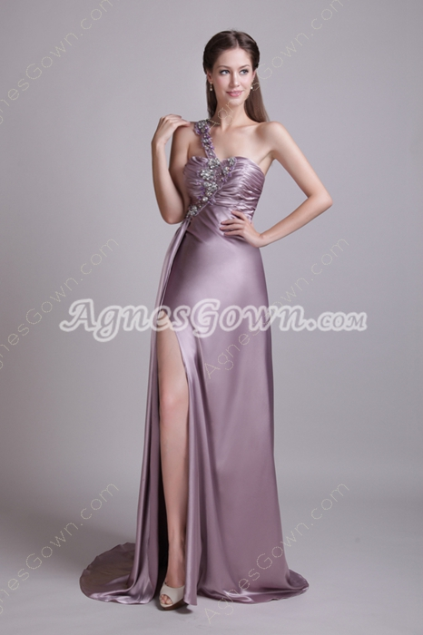 Sexy One Shoulder A-line Lilac Evening Dress High Slit