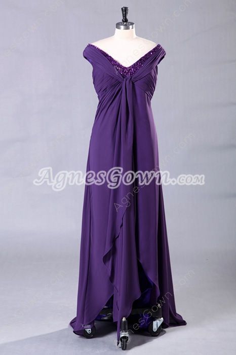 Off The Shoulder Empire Full Length Purple Maternity Prom Dress