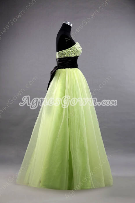 Lovely Sweetheart Puffy Floor Length Lime Green Princess Quinceanera Dress