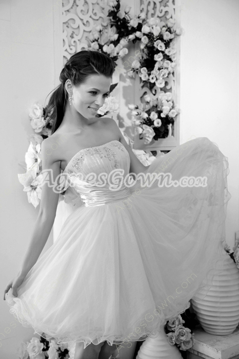 Adorable Dipped Neckline Puffy Mini Length Sweet Sixteen Dress