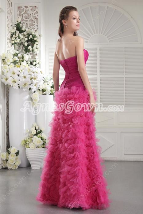 Multi Layered Sweetheart Fuchsia Organza Quinceanera Dress