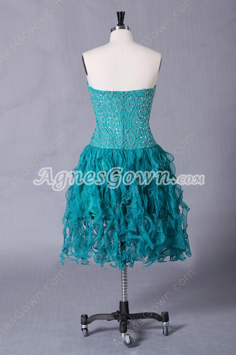 Dipped Neckline Teal Organza Knee Length Sweet Sixteen Dress