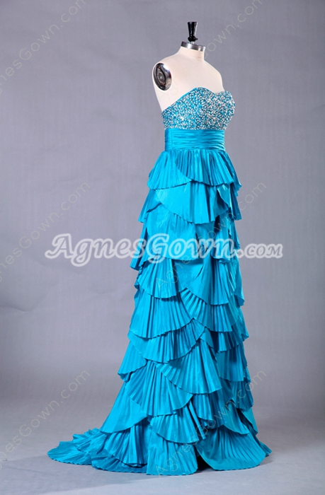 Charming Turquoise Column Floor Length Prom Dress With Handmade Bodice