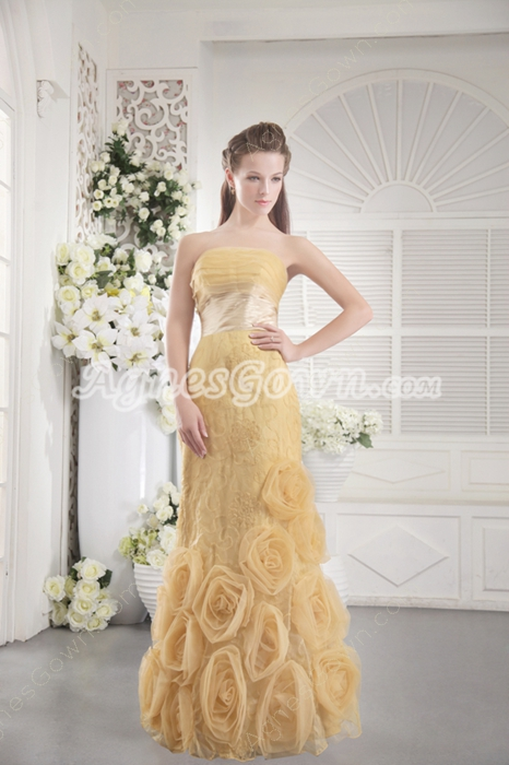 Strapless Column Full Length Gold Floral Prom Dress