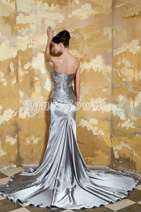 Graceful Strapless A-line Silver Grey Satin Prom Gown