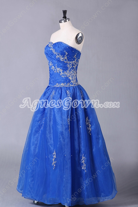 Embroidery Puffy Floor Length Royal Blue Organza Quinceanera Dress