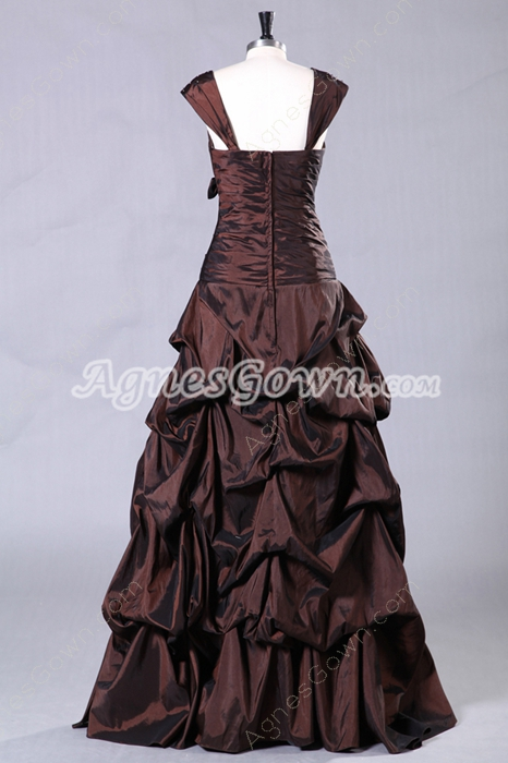 Chocolate Straps Column Full Length Taffeta Quinceanera Dress