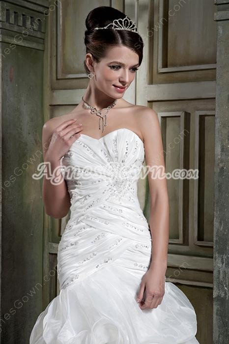 Sweetheart Sheath Floor Length Organza Wedding Dress Corset Back