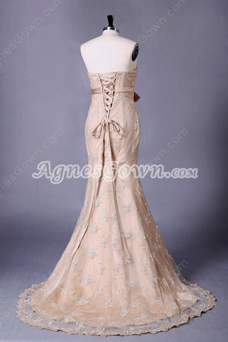 Corset Back Champagne Lace Mermaid Wedding Dress