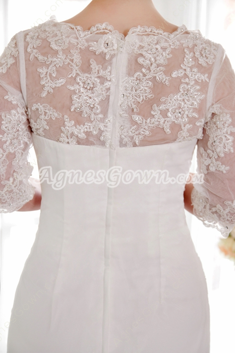 Floor Length Lace Modest Middle Sleeves Plus Size Wedding Dress