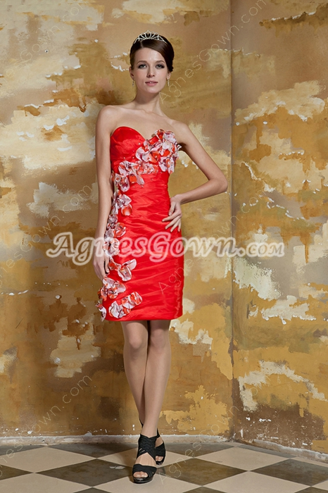 Column Mini Length Sweetheart Red Organza Wedding Guest Dress With Flowers