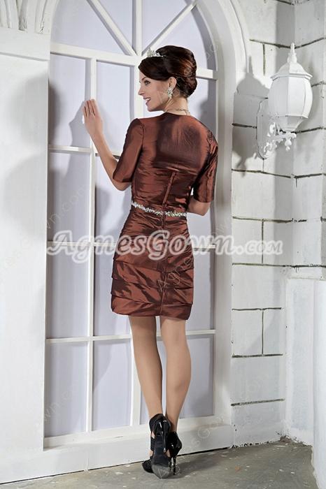 Sheath Mini Length Sweetheart Brown Taffeta Wedding Guest Dress With Bolero