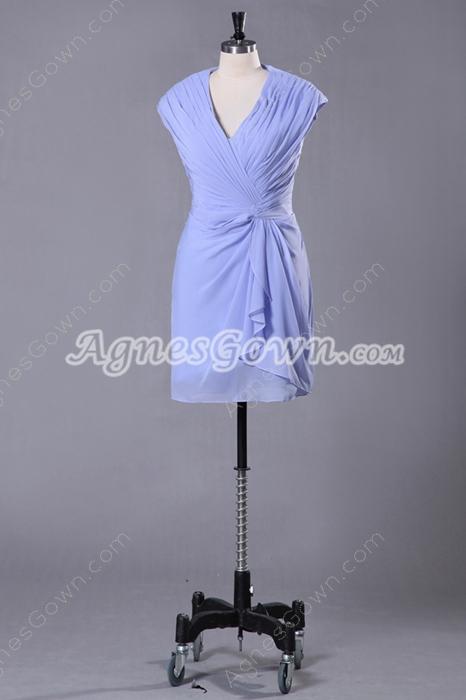 Mini Length V-Neckline Sheath Lavender Wedding Guest Dress