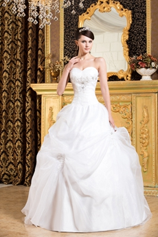 Simple White Organza Ball Gown 15 Quinceanera Dress