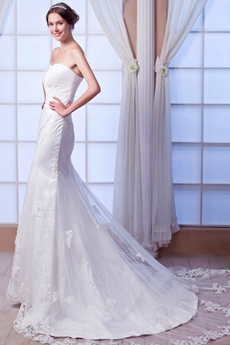 Sweetheart Sheath Floor Length Lace Wedding Dress Lace Up Back