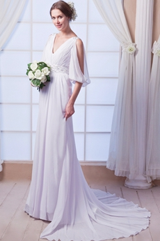 3/4 Sleeves A-line Full Length Chiffon Beach Wedding Dress