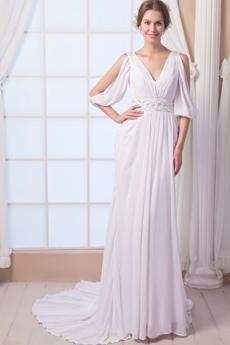3/4 Sleeves A-line Full Length Chiffon Beach Wedding Dress