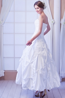 Puffy Tea Length Taffeta Summer Wedding Dress With Clear Beads