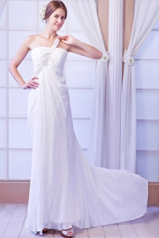 Bohemian One Shoulder Column Chiffon Summer Beach Wedding Gown