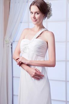 Bohemian One Shoulder Column Chiffon Summer Beach Wedding Gown